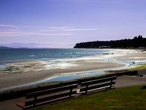 长凳和海滩 免版税库存照片