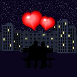 长凳和爱恋的心脏 例证为华伦泰` s天 剪影 皇族释放例证