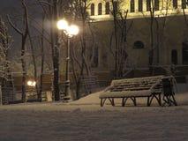 长凳在公园在晚上 库存图片
