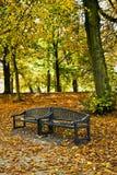 长凳在公园在秋天 库存照片