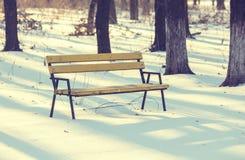 长凳在是的冬天城市公园 免版税库存照片