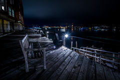 长凳在晚上 库存图片