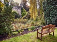 长凳在秋天爱尔兰人公园 免版税库存图片