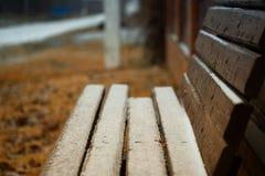 长凳在第一雪以后的村庄,秋天的结束和冬天初期  库存照片