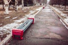 长凳在老公园 免版税库存照片