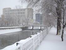 长凳在雪结构树都市冬天附近报道了横向 图库摄影