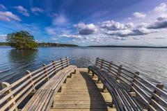 长凳在Sigtuna,瑞典 免版税图库摄影