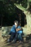 长凳夫妇愉快的拥抱的垂直 库存照片