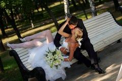 长凳新娘新郎亲吻的公园 免版税库存照片