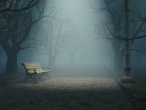 长凳有薄雾的公园 免版税库存图片
