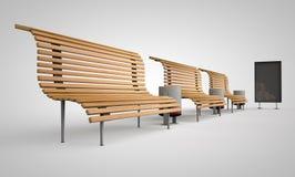 长凳由木头制成在广告牌旁边 免版税库存图片