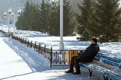 长凳的人在冬天 库存图片