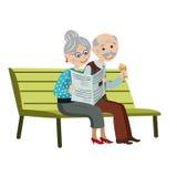 长凳的祖父母 图库摄影