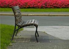 长凳空的街道 库存图片