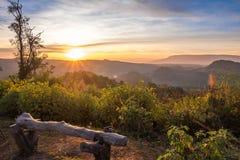 长凳空的高山公园 免版税库存图片