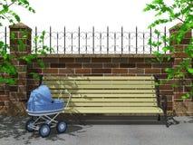 长凳,公园,婴儿推车 库存照片