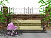 长凳,公园,婴儿推车 免版税库存照片