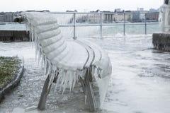 冻结长凳 免版税库存照片