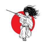 长发武士攻击与他的日本刀的,手拉的例证 库存例证