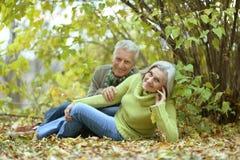 年长夫妇在公园 免版税库存照片