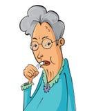 年长妇女咳嗽 免版税图库摄影