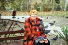 年长妇女哺养的鸽子 库存照片