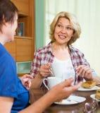 年长妇女在桌上用茶 免版税库存照片