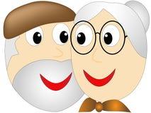 年长妇女崇拜凝视入一个更老的有胡子的人的眼睛 库存图片
