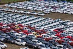 长安汽车Co 位于北京的中心商务区的心脏,包括旅馆,办公室,公寓,展览室和商城的CWTC,是在北京和其中一根据的许多跨国公司的第一个选择最大的高级商业混杂用途发展中在世界上 渝北工厂车运输领域 图库摄影