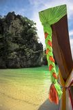 长尾巴小船,辫子特写镜头。泰国 免版税图库摄影