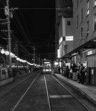 长崎,日本- 01MAR2018 -缆车在停止的长崎 库存照片