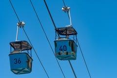 长平底船在圣地亚哥动物园的天空徒步旅行队 免版税库存照片