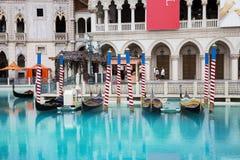 长平底船在威尼斯式旅馆里在拉斯维加斯 免版税图库摄影