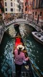 长平底船在威尼斯意大利 库存照片