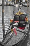 长平底船在威尼斯,意大利 库存照片