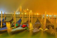 长平底船在威尼斯;圣乔治堂Maggioreï ¼›威尼斯 免版税图库摄影