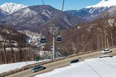 长平底船在罗莎Khutor滑雪胜地,索契,俄罗斯举 图库摄影