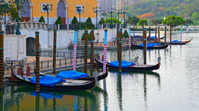长平底船威尼斯式旅馆,澳门外 库存图片