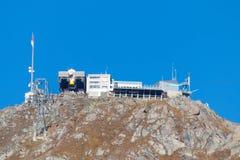 长平底船推力派出所终点山中止韦尔比耶瑞士 图库摄影