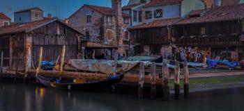 长平底船造船厂在威尼斯,意大利 库存照片