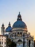 长平底船marco广场圣日落威尼斯视图 库存照片