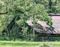 长得太大的古色古香的谷仓 免版税库存照片