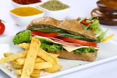 长方形宝石三明治用火腿和乳酪 免版税库存照片