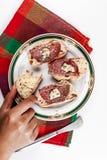 长方形宝石面包用青纹干酪 图库摄影