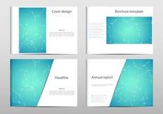 长方形小册子模板布局,盖子,年终报告,在A4大小的杂志与分子脱氧核糖核酸结构 几何 免版税图库摄影