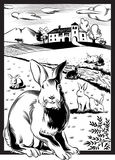 长方形框架,用兔子 免版税库存图片