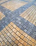 长方形石头的路面的顶视图 图库摄影