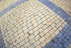 长方形石头的路面的顶视图 库存照片