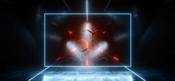 长方形科学幻想小说霓虹发光的外籍人太空飞船黑暗的反射性光滑的充满活力的橙色蓝色彩虹室霍尔走廊阶段隧道 向量例证