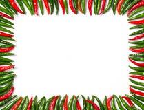 长方形红色和绿色鸟辣椒框架 库存图片